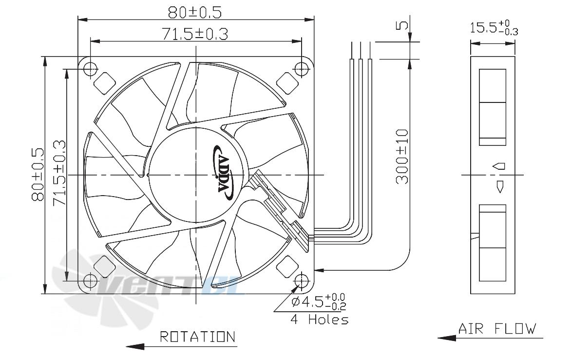 Габаритные размеры 80x80x15 DC