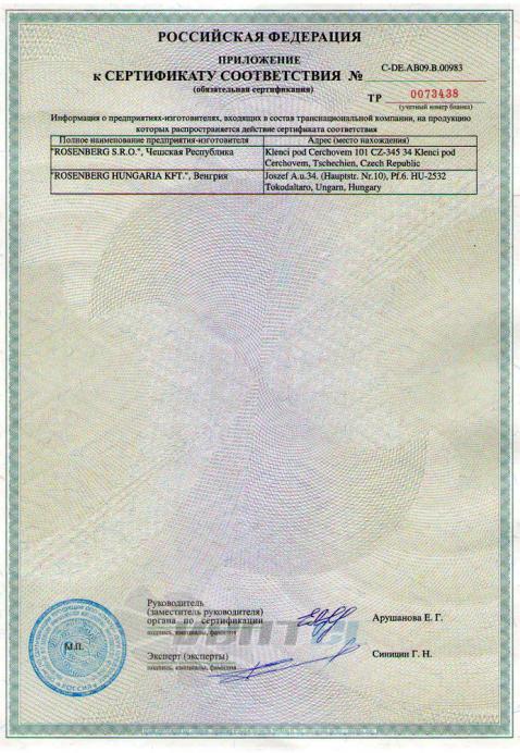 Сертификат соответствия Rosenberg