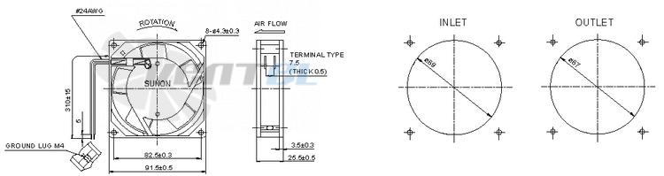 Экологичный SUNON SF11592A.1092HBT.GN переменного тока AC (92X92X25) стоимость