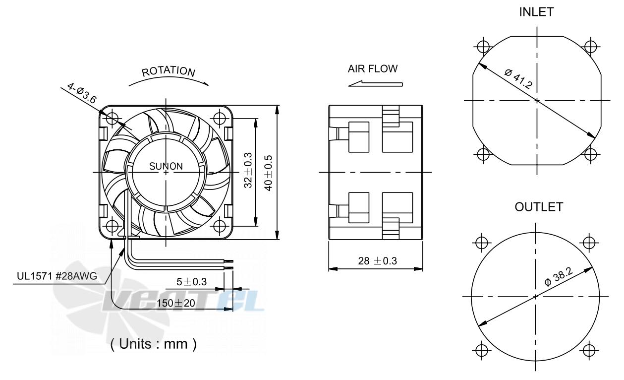 Габаритные и установочные размеры PMD1204PQV2-A