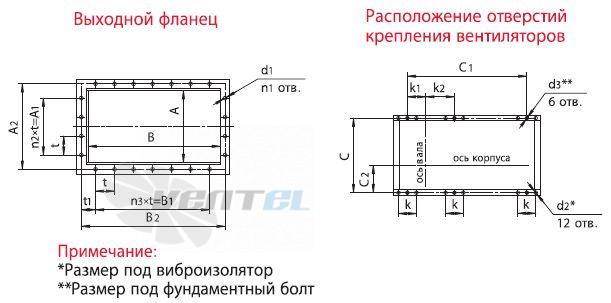 Выходной фланец и крепление вентиолятора Веза ВРАН9-063-ДУВ