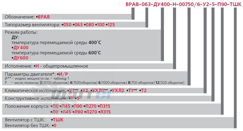 Расшифровка наименования Веза ВРАВ-063-ДУ исполнение 5