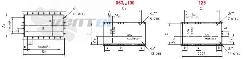 Присоединительные и установочные размеры Веза ВРАВ-063-ДУ исполнение 5