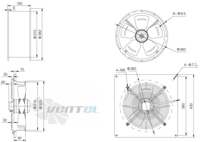 2. Габаритные и присоединительные размеры Weiguang YWF исполнение круглый и квадратный корпус