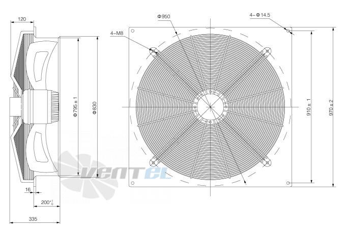 2. Габаритные и присоединительные размеры Weiguang YWF исполнение квадратный корпус