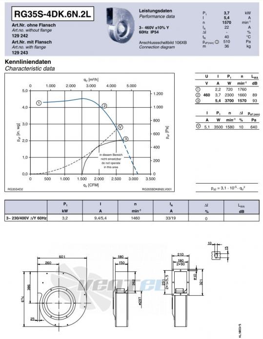 Ziehl-abegg RG35S-4DK.6N.2L центробежный одностороннего всасывания