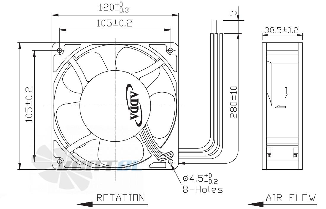 Габаритные размеры 120x120x38 DC