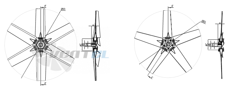 Схема и обозначение размеров крыльчатки Bahcivan B5P 800