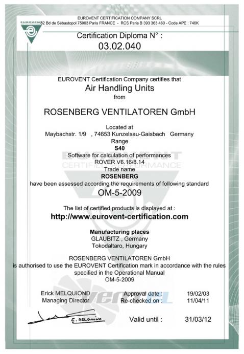 Rosenberg Сертификат Eurovent