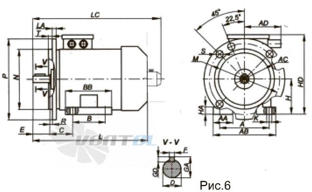 Размеры и исполнение электродвигателя АДЧР160S8