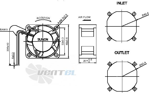 Габаритные и присоединительные размеры EF40201BX-000U-A99