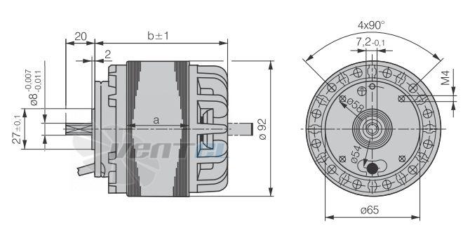 Габаритные размеры и исполнение M2E068-DF-65-03