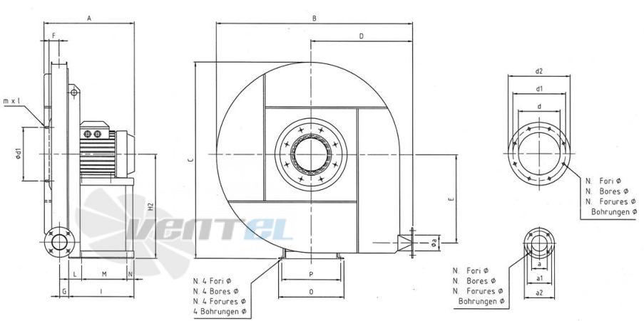 Габаритные размеры для исполнения с прямым приводом Ferrari 802/112-4-2