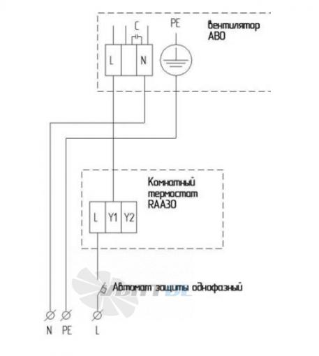 Схема электрического подключения АВО 82 Е через термостат