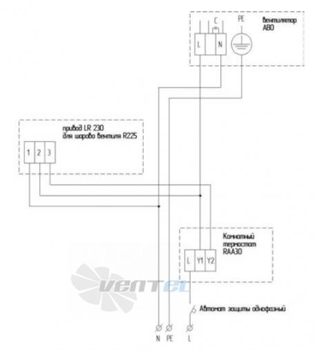 АВО 82 Е Схема электрического подключения нагревателя через термостат и шаровой кран