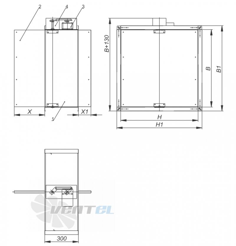 Размеры и габариты VKT КПС-1M(15) противопожарный МS Siemens для прямоугольного сечения