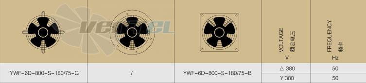 Рабочие параметры и характеристики Weiguang YWF-6D-800-S-180/75-G